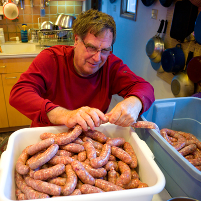Twisting hand made sausages