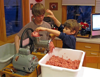 Kids love to make homemade sausage