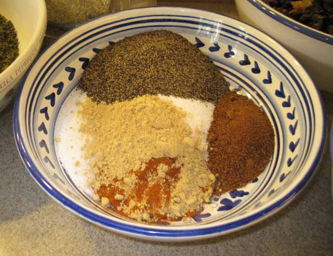 Spices in Bowl, Ready to Add to Sausage Mix