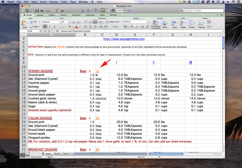 The SausageMania Spreadsheet.